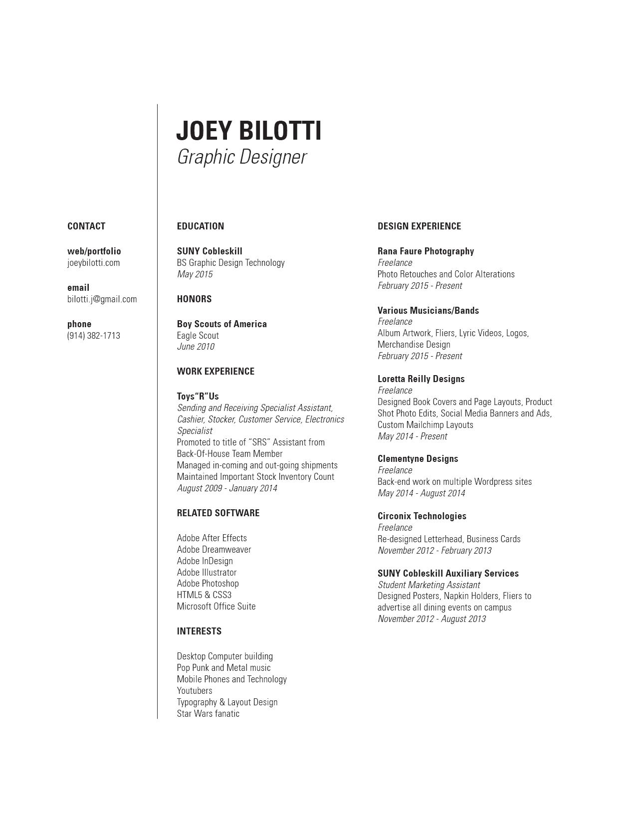 Resume – Joey Bilotti Portfolio